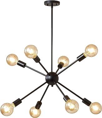 Sputnik Chandeliers Modern Chandelier Old-Fashioned Industrial Chandelier Lighting 8 Black Ceiling Lights mid-Century Modern