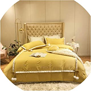 HANBINGPO Yellow Red Pink Chic Ruffles Velvet Ball Duvet Cover Bedding Set for Girls King Queen Size Ultra Soft Bed Sheet Set Embroidery,Bedding Set 3,Queen Size 4pcs,Bed Sheet Style