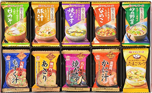 アマノフーズ バラエティギフト M‐150R 全10食(味わうおみそ汁:白みそ1食、豚汁1食、焼なす1食、なめこ1食、炒め野菜1食/九州みそもずく汁1食、瀬戸内みそあさり1食、八丁味噌焼なす1食、北海道みそかに汁1食/たまごスープ1食)