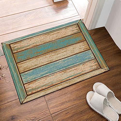 InterestPrint Antiguos tablones Estilo americano Alfombras de baño de tela de madera rústicas occidentales Entradas antideslizantes en el piso Alfombrilla exterior para puerta de entrada, 60X4