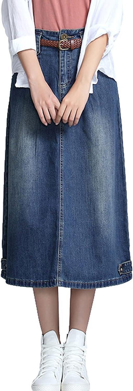 IKIIO Women's Summer Casual Denim Skirt A-Line Loose Fit High Waist Skirts with Pockets
