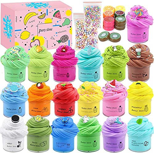 36 Pack Mini can Slime, 20 Butter Slime,16pcs Fruit Crystal Slice Slime Kits, Stretchy and Non-Sticky, Stress Relief Slime Toy for Girl and Boys