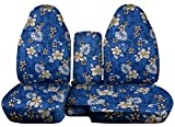Totally Covers Compatible with 1998-2003 Ford Ranger/Mazda B-Series Hawaiian Truck Seat Covers (60/40 Split Bench) w Center Console/Armrest Cover: Blue w Flowers (4 Prints) w/wo Cup Holders