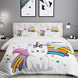 LUNASVT 3PC Bedding Set Fairy Animal with Ice Cream Cone Bow Stars and Rainbow Kids Imagination Fiction 1 Duvet Cover with 2 Matching Pillowcases Home Bedroom Decor King