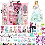 Miunana 69 PCS Kleiderschrank Möbel für Barbie Puppen = 1 Schrank + 1 Schuhschrank + 9 Kleider + 10 Schuhe + 10 Kleiderbügel + 6 Halsketten + 6 Kronen + 10 Tasche + 16 Zubehör