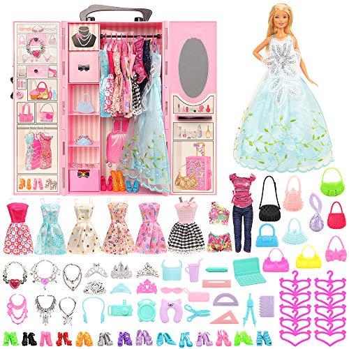 Miunana 69 - Armario para muñecas de 11,5 pulgadas = 1 armario + 1 zapatero + 9 vestidos + 10 zapatos + 10 perchas + 6 collares + 6 coronas + 10 bolsillos + 16 accesorios