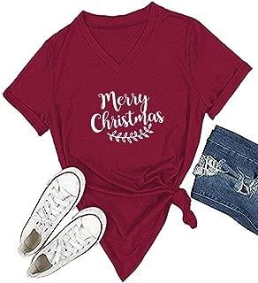 Mom's care Merry Christmas Leaf T Shirt Womens Cute Christmas Graphic Short Sleeve Print HolidayTops