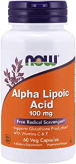 NOW Supplements, Alpha Lipoic Acid 100 mg with Vitamins C & E, Free Radical Scavenger*, 60 Veg Capsules
