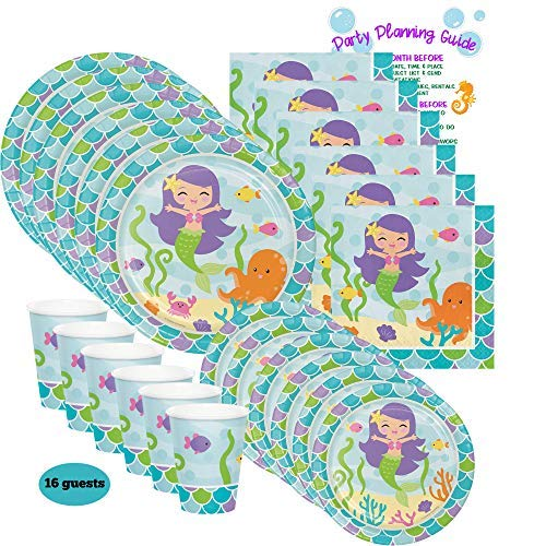 Mermaid Party Pack for 16 - Plates, Cups, and Napkins   Mermaid Party Supply Tableware Set Kit Includes Party Planning Guide