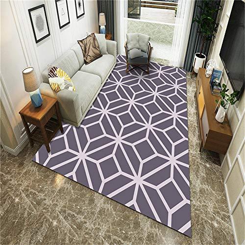 RUGMYW Acogedor alfombras de Pasillo Patrón geométrico Morado Alfombra del Piso 100X200cm