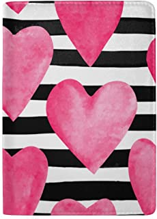 Pink Watercolor Heart Birthday Blocking Print Passport Holder Cover Case Travel Luggage Passport Wallet Card Holder Made with Leather for Men Women Kids Family
