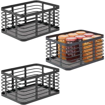 mDesign panier en métal polyvalent (lot de 3) – panier de rangement pour cuisine, garde-manger, salle de bain, etc. – corbeille de rangement universelle et compacte – noir
