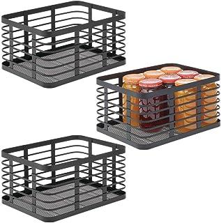 mDesign panier en métal polyvalent (lot de 3) – panier de rangement pour cuisine, garde-manger, salle de bain, etc. – corb...