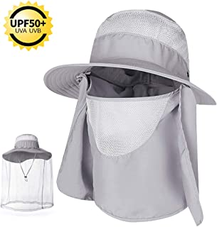 COPOZZ Outdoor Fishing Hat for Men Women, UPF 50+ Wide Brim Sun Hat Cap with Mosquito Net, Removable Face & Neck Flap, Breathable Boonie Hat for Backpacking Hiking Safari Beach Travel