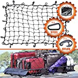 cargo carrier net - 3'x4' Super Duty Cargo Net, Bungee Net Stretches to 6'x8' for Oversized Rooftop Cargo Rack | 12 Tangle-Free Steel Carabiners + 12 Hooks | 3.5