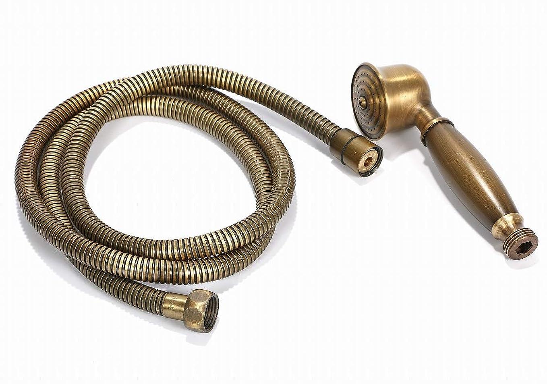 雷雨聖書製造業r_planning シャワーヘッド レトロ調 真鍮 汎用 ホース セット 交換するだけでリッチな気分
