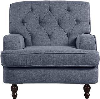 DIVANO ROMA FURNITURE Modern Tufted Fabric Living Room Armchair (Light Grey)
