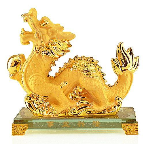 BOYULL Large Size Chinese Zodiac Dragon Year Golden Resin Collectible Figurines Table Decor Statue Chinese Zodiac Year Monkey
