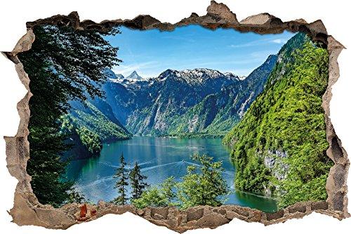 Stil.Zeit Blick auf den Königssee Wanddurchbruch im 3D-Look, Wand- oder Türaufkleber Format: 92x62cm, Wandsticker, Wandtattoo, Wanddekoration