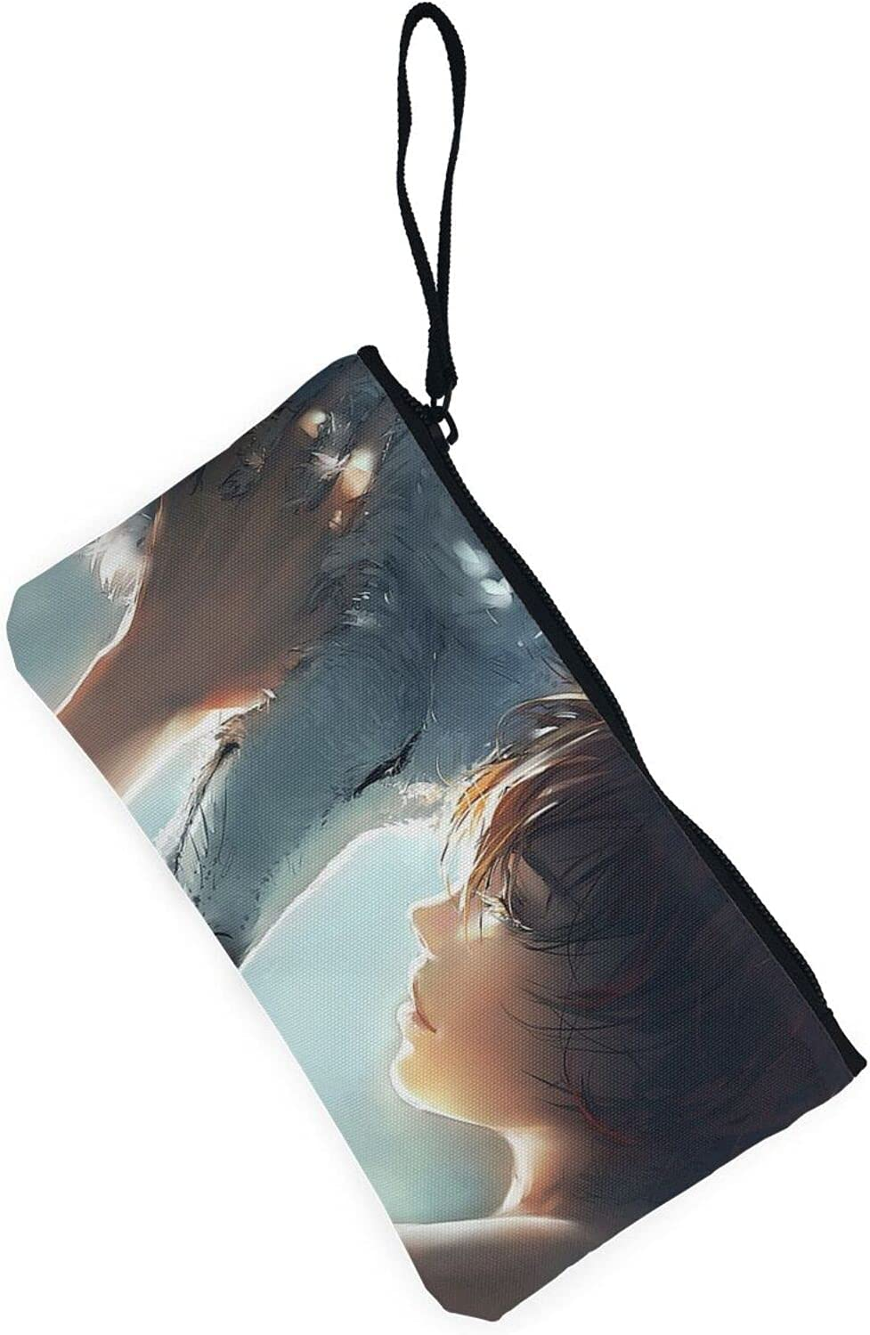 AORRUAM Wolf and woman Canvas Coin Purse,Canvas Zipper Pencil Cases,Canvas Change Purse Pouch Mini Wallet Coin Bag