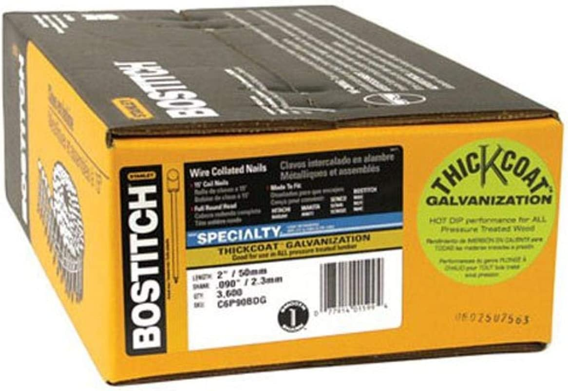 Bostitch C6P90BDG Thickcoat Virginia Beach Mall Round Sales results No. 1 Head 2-Inch 15 .090-Inch by De