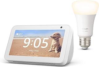 Echo Show 5, Bianco + Philips Hue White Lampadina Connessa (E27), compatibile con Alexa