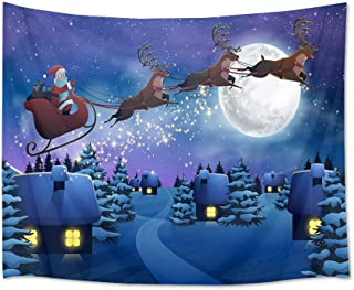 HVEST Santa Claus Riding Reindeer Sleigh Across Moon Wall Hanging Christmas Snow Night Tapestry Starry Sky Wall Hanging for Bedroom Room Dorm Outdoor Decor, 60Wx40H inches