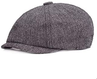 Weejb Mens Fashion Beret Cap Autumn Winter Wool Ladies Cotton Middle-Aged Simple Forward Cap Hats