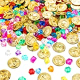 Skylety 100 Pieces Pirate Gold Coins and 100 Pieces Gem Jewelry Treasure Toys Activity Party Decorations for Halloween Pirate Adventure Themed Event Party Decorations