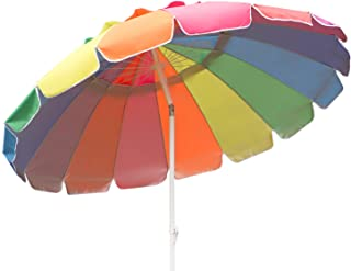 Aclumsy 7.5' Beach Umbrella, UV Protected, Vented, Tilt Pole, Carry Bag, Rainbow