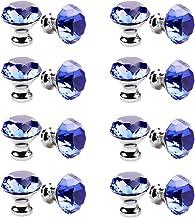 30mm kristallen handvat, meerkleurige kristallen knop 16PCS, meubelladeknop, garderobedeur enkel gat handvat-blauw
