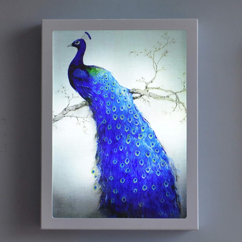 Amerikanische Malerei-Wandlampe Des Blauen Pfaus Der Landmode Dekorative, LED-Wandlampen-Nachttischlampenraum-Schlafzimmerlampe