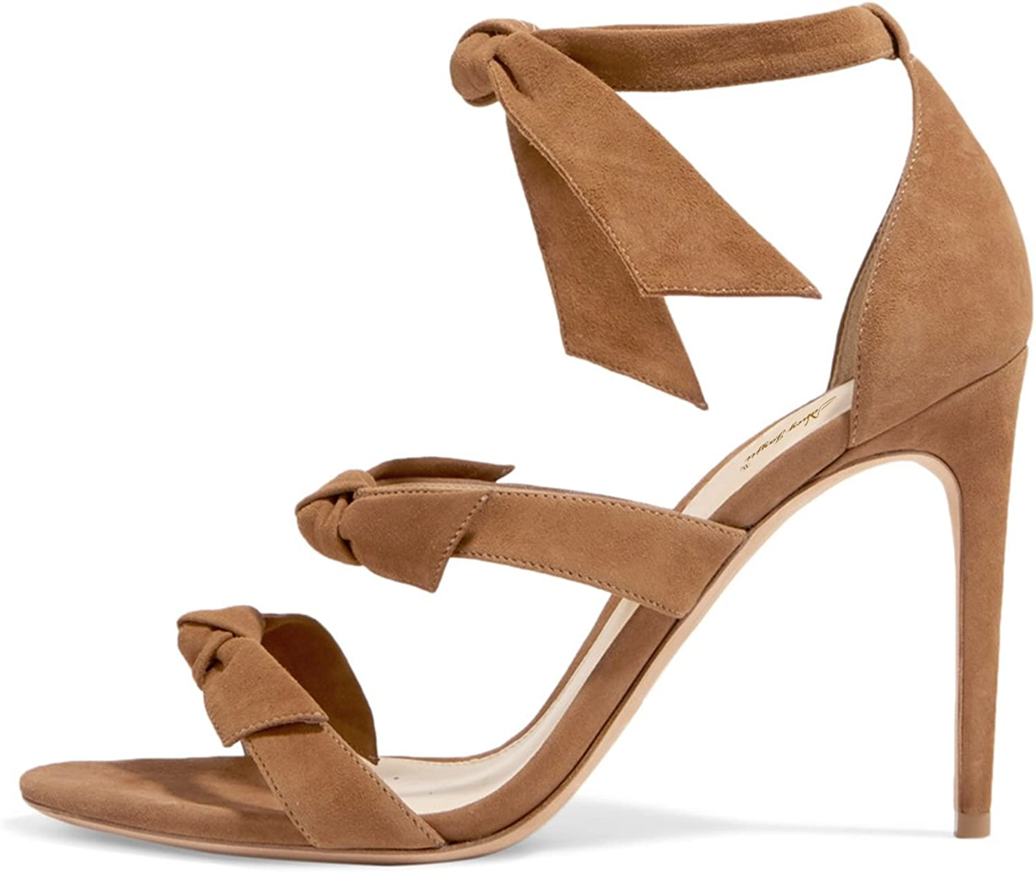 NJ Women Open Toe High Heel Strappy Sandals Ankle Straps Stiletto Bow Tie shoes for Party
