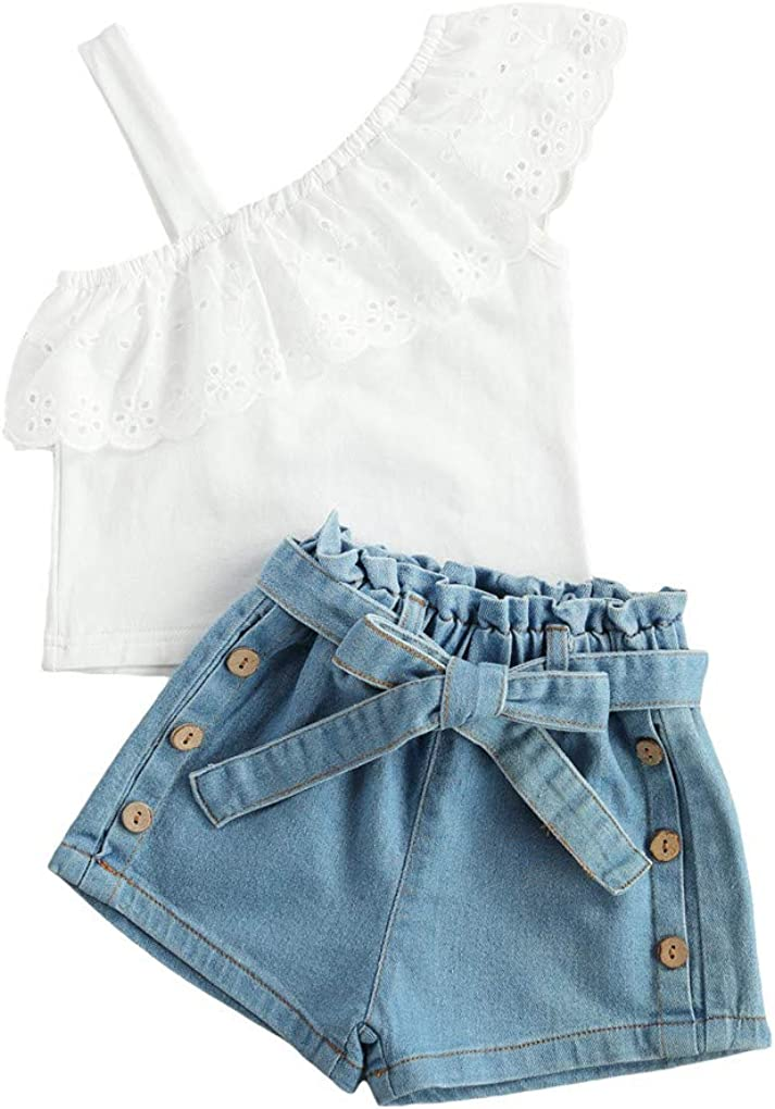 Toddler Baby Girl Summer Clothes Outfits Set Off Shoulder White Lace Tops Shirt Denim Shorts/Long Pants Ripped Jeans 2Pcs