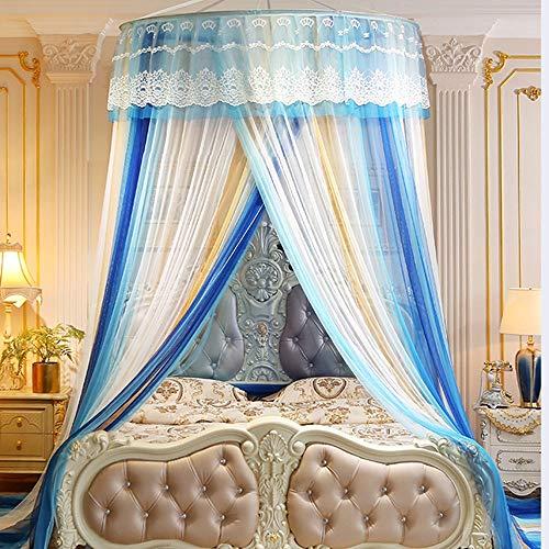Shangfu Decoración Mobiliario Elegante y romántico Cúpula Mosquitera la Princesa del cordón Colgante y de concordancia de Color Inicio Techo Suelo Decorativo Multicolor DIY (Color : Blue)