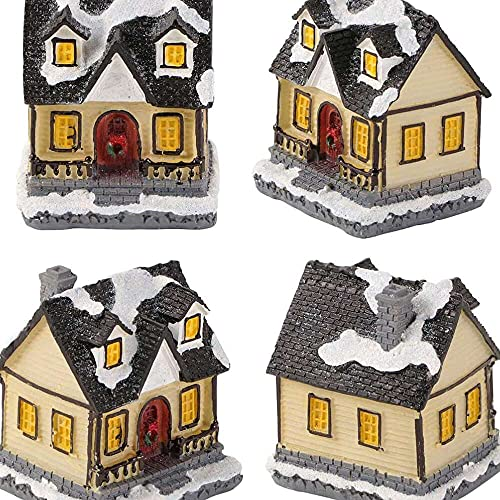 YuKeShop Snow Village Christmas Village Colección Resina Navidad Escena Casas Luz LED Miniatura Regalo Decoración Navidad Ornamento