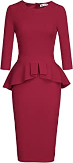 Women's Crew Neck Peplum Knee Length Party Pencil Dress