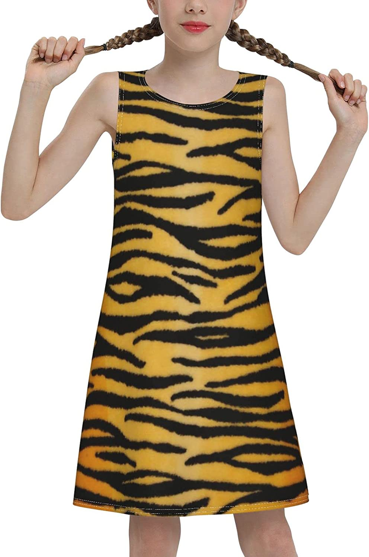 YhrYUGFgf Leopard Print Sleeveless Dress for Girls Casual Printed Lightweight Skirt