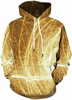 Unisex Hoodie 3D Printed Sweatshirt with Big Pockets Halloween Hooded Pullover Yellow BA43