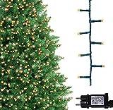 Árbol de Navidad Luces 500 LED 12.5m Blanco cálido Luces interiores/exteriores Decoraciones Luces de cuerda de hadas Alimentación principal 41 pies Longitud encendida Cable verde