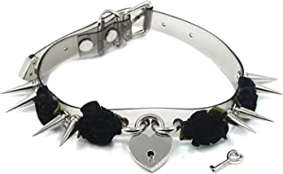 Women Harajuku Gothic Heart Padlock Collar With Silver Tone Spikes Roses Choker Necklaces