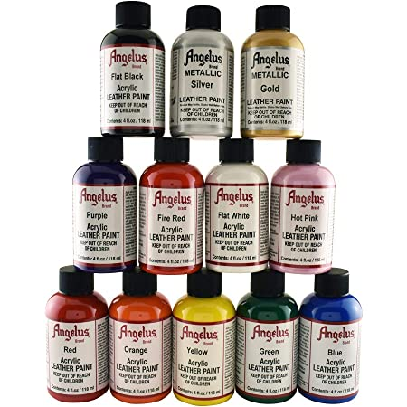 Angelus Leather Paint, Set of 12 colors, 4oz jars
