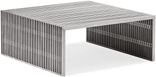 America Luxury - Tables Modern Contemporary Living Room Square Coffee Table, Silver Brushed Stainless Steel
