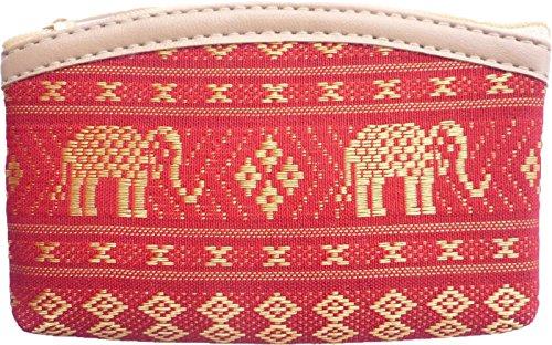 Ariyas Thaishop Kleingeldtasche aus Baumwolle gewebt mit Elefanten