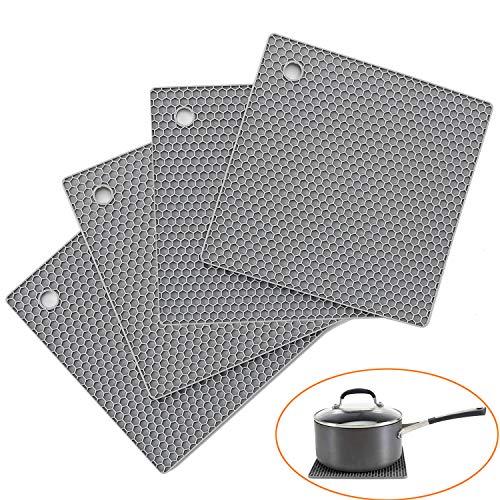 Ihomepark Sottopentola in Silicone, 4Pcs Presine in Silicone da Cucina, Forma di Alveare, Resistente al Calore Fino a 250 °C, Lavabile in Lavastoviglie, Multifunzione Grigio
