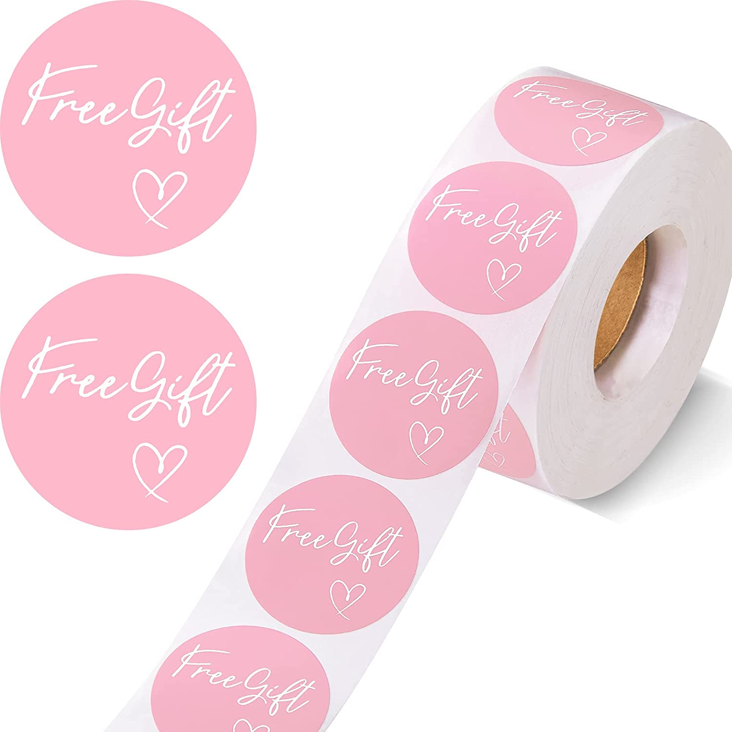 1000 Pieces Customer Appreciation Stickers Small Business Sticker Roll Round Self-Adhesive Stickers Labels for Packing Mailing Envelopes Postcards, 1.5 Inch (Pink Background)