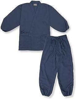 【日本製】 袖裾ゴム式テト麻作務衣 No.1 濃紺 <IKISUGATA> 和粋庵特製巾着付き