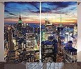 Waple Verdunkelungs-vorhänge Öse für Wohnzimmer New York Skyline und Wolkenkratzer der Stadt bei Sonnenuntergang 150*166cm 3D-Vorhänge Fotodruck Verdunkelungsvorhänge für Wohnzimmer Schlafzimmer Schla