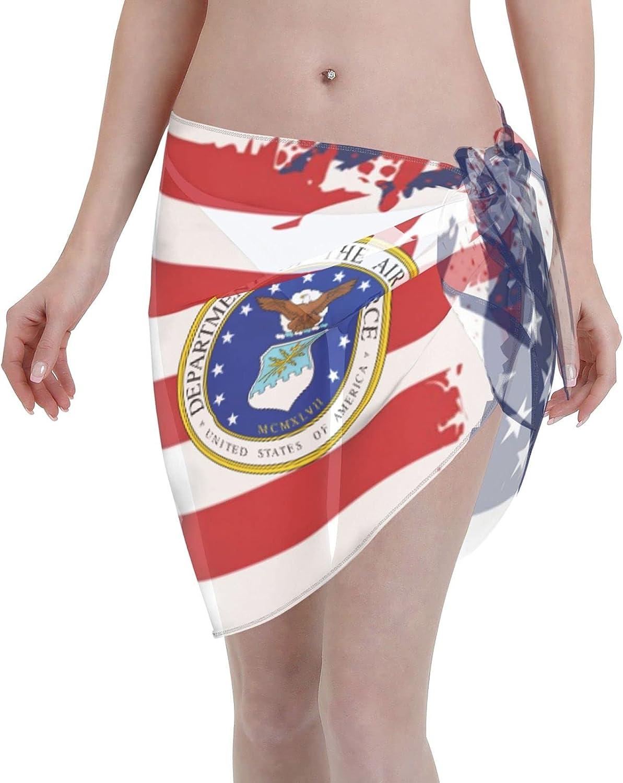 Veteran of The United States Us Air Force Women Short Sarongs Beach Wrap Bathing Suits Cover Ups Sheer Short Skirt Bikini Chiffon Scarf Black