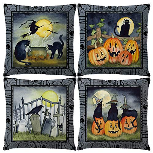 7COLORROOM Set of 4 Halloween Pillow Covers Midnight Party with Pumpkin Graves Witches Crows Black Cats Pattern Cushion Cover Vintage Happy Halloween Decorative Pillow Cases 18' x 18' (Cat Halloween)